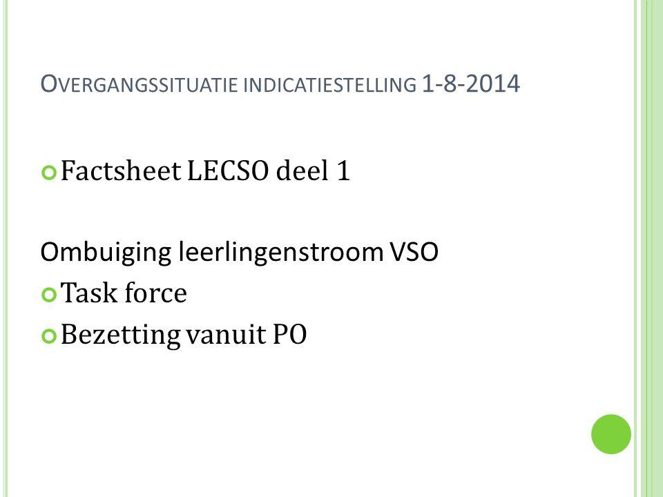 O VERGANGSSITUATIE INDICATIESTELLING 1-8-2014 Factsheet LECSO deel 1 Ombuiging leerlingenstroom VSO Task force Bezetting vanuit PO