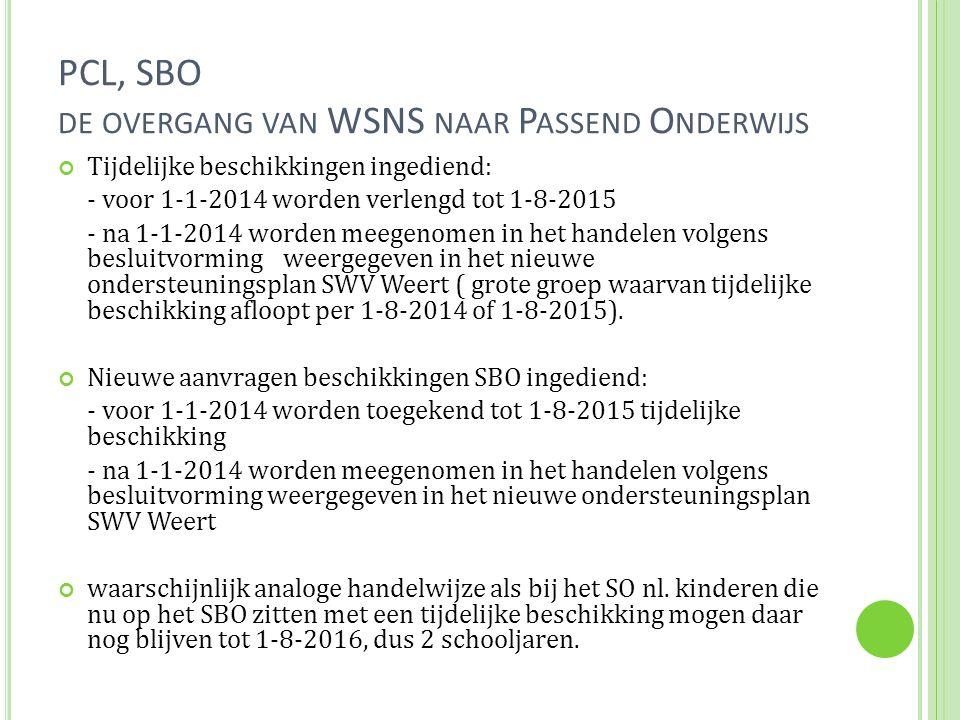PCL, SBO DE OVERGANG VAN WSNS NAAR P ASSEND O NDERWIJS Tijdelijke beschikkingen ingediend: - voor 1-1-2014 worden verlengd tot 1-8-2015 - na 1-1-2014 worden meegenomen in het handelen volgens besluitvorming weergegeven in het nieuwe ondersteuningsplan SWV Weert ( grote groep waarvan tijdelijke beschikking afloopt per 1-8-2014 of 1-8-2015).