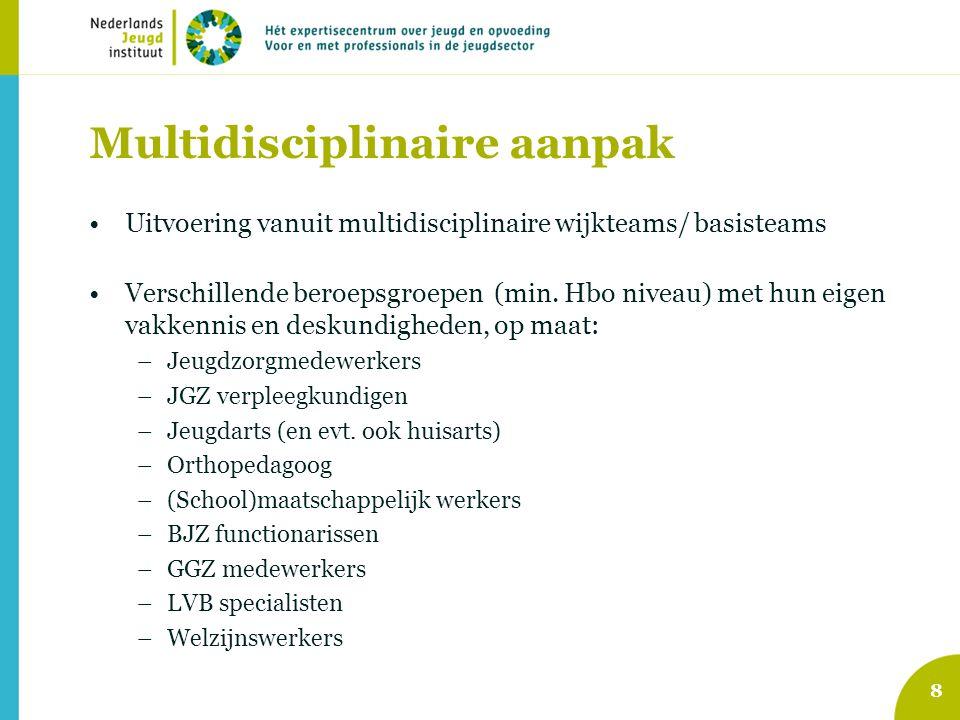 8 Multidisciplinaire aanpak Uitvoering vanuit multidisciplinaire wijkteams/ basisteams Verschillende beroepsgroepen (min. Hbo niveau) met hun eigen va