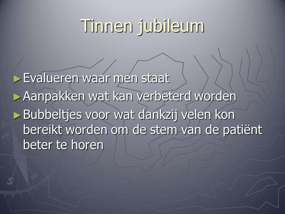 Tinnen jubileum ► Evalueren waar men staat ► Aanpakken wat kan verbeterd worden ► Bubbeltjes voor wat dankzij velen kon bereikt worden om de stem van de patiënt beter te horen