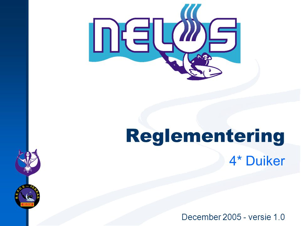 December 2005 - versie 1.0Reglementering 4* Duiker42 Beperkingen proeven/ duikleidingen op 1 dag Alle proeven en duikleidingen: Per duik mag maximum één proef/DL afgelegd worden.