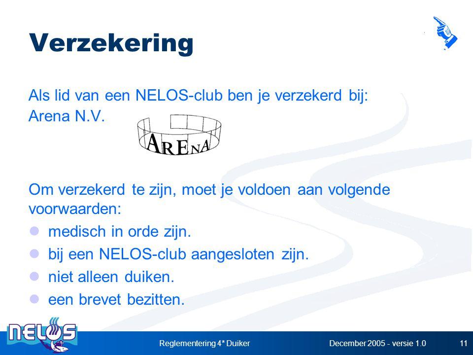 December 2005 - versie 1.0Reglementering 4* Duiker11 Verzekering Als lid van een NELOS-club ben je verzekerd bij: Arena N.V. Om verzekerd te zijn, moe