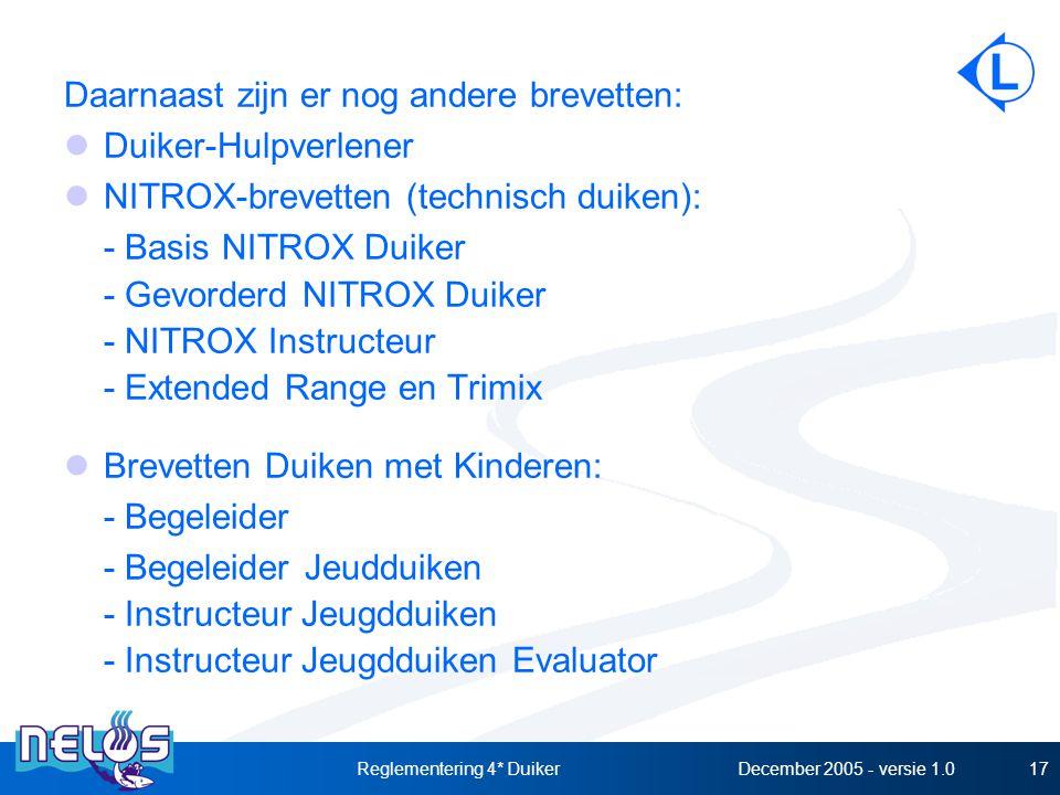 December 2005 - versie 1.0Reglementering 4* Duiker17 Daarnaast zijn er nog andere brevetten: Duiker-Hulpverlener NITROX-brevetten (technisch duiken): - Basis NITROX Duiker - Gevorderd NITROX Duiker - NITROX Instructeur - Extended Range en Trimix Brevetten Duiken met Kinderen: - Begeleider - Begeleider Jeudduiken - Instructeur Jeugdduiken - Instructeur Jeugdduiken Evaluator