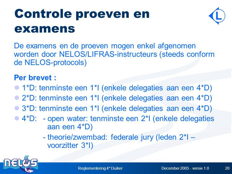 December 2005 - versie 1.0Reglementering 4* Duiker20 Controle proeven en examens De examens en de proeven mogen enkel afgenomen worden door NELOS/LIFRAS-instructeurs (steeds conform de NELOS-protocols) Per brevet : 1*D: tenminste een 1*I (enkele delegaties aan een 4*D) 2*D: tenminste een 1*I (enkele delegaties aan een 4*D) 3*D: tenminste een 1*I (enkele delegaties aan een 4*D) 4*D:- open water: tenminste een 2*I (enkele delegaties aan een 4*D) - theorie/zwembad: federale jury (leden 2*I – voorzitter 3*I)