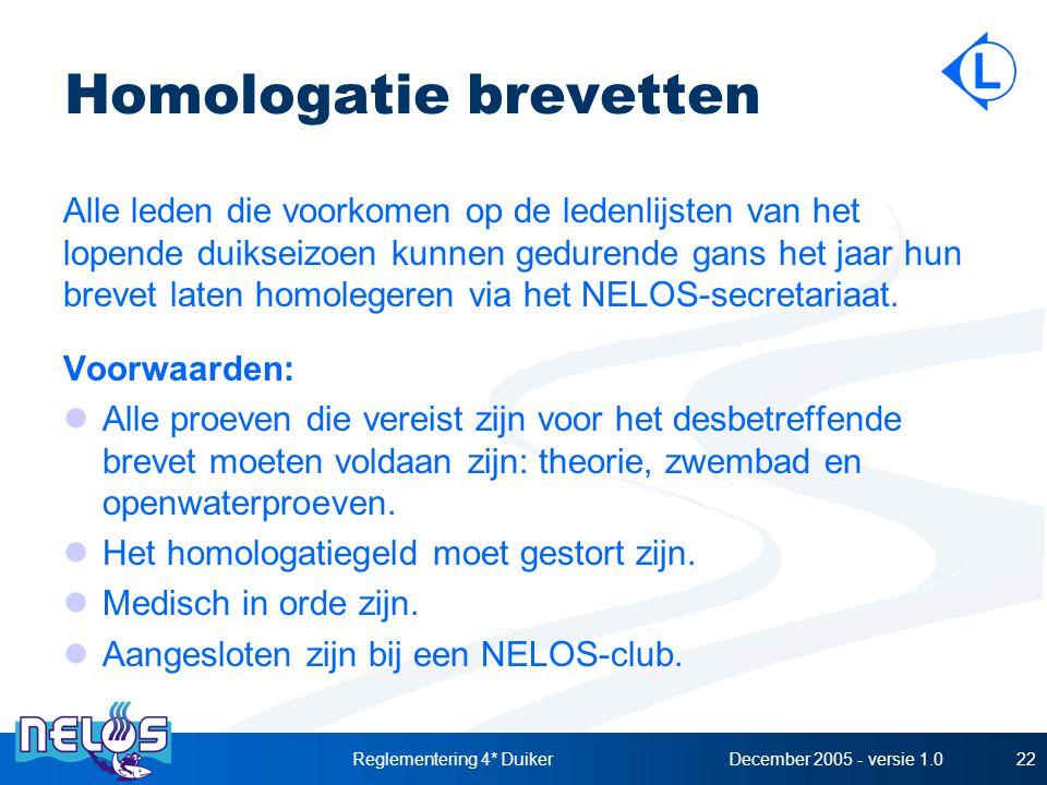 December 2005 - versie 1.0Reglementering 4* Duiker22 Homologatie brevetten Alle leden die voorkomen op de ledenlijsten van het lopende duikseizoen kunnen gedurende gans het jaar hun brevet laten homolegeren via het NELOS-secretariaat.