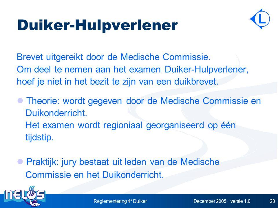 December 2005 - versie 1.0Reglementering 4* Duiker23 Duiker-Hulpverlener Brevet uitgereikt door de Medische Commissie. Om deel te nemen aan het examen