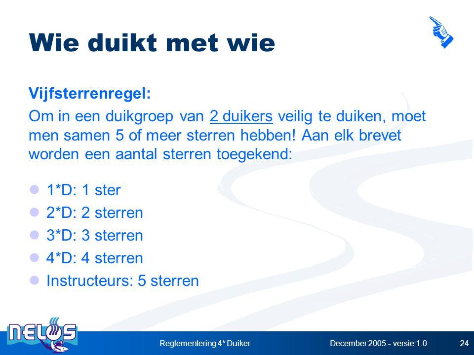 December 2005 - versie 1.0Reglementering 4* Duiker24 Wie duikt met wie Vijfsterrenregel: Om in een duikgroep van 2 duikers veilig te duiken, moet men