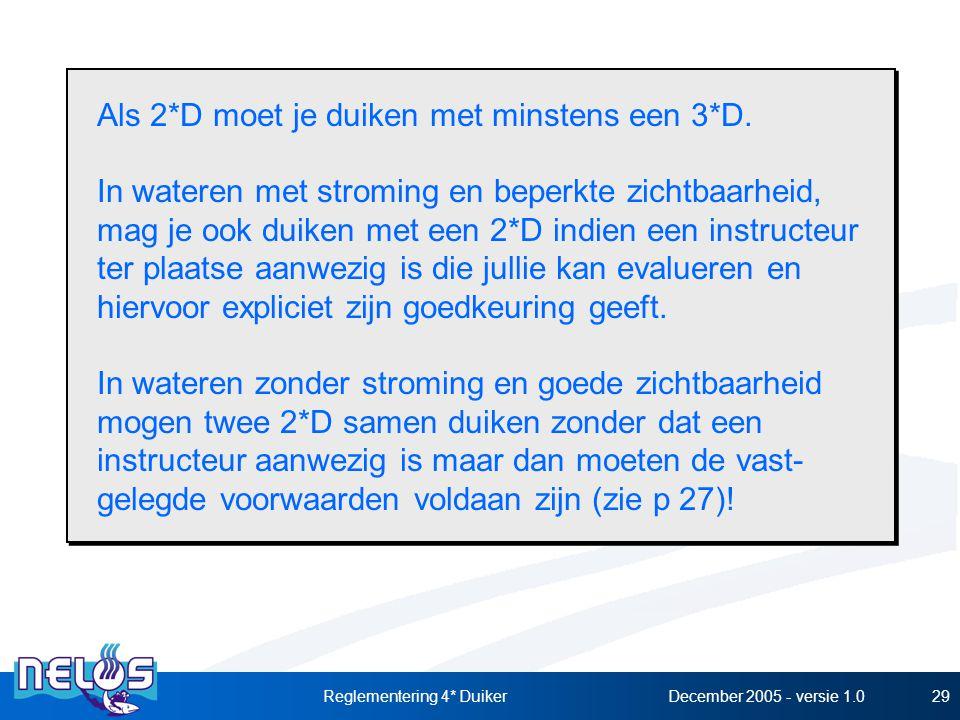 December 2005 - versie 1.0Reglementering 4* Duiker29 Als 2*D moet je duiken met minstens een 3*D. In wateren met stroming en beperkte zichtbaarheid, m