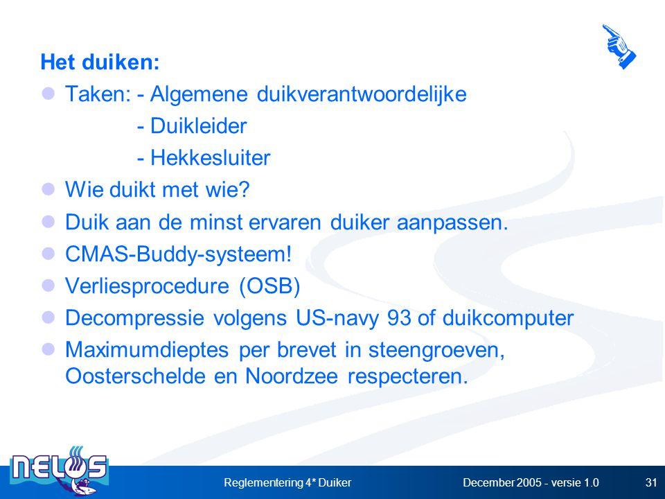 December 2005 - versie 1.0Reglementering 4* Duiker31 Het duiken: Taken:- Algemene duikverantwoordelijke - Duikleider - Hekkesluiter Wie duikt met wie.