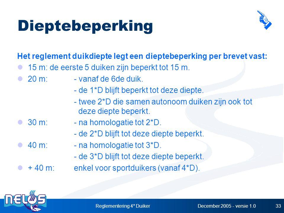 December 2005 - versie 1.0Reglementering 4* Duiker33 Dieptebeperking Het reglement duikdiepte legt een dieptebeperking per brevet vast: 15 m: de eerste 5 duiken zijn beperkt tot 15 m.