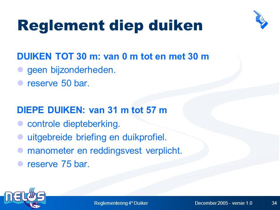 December 2005 - versie 1.0Reglementering 4* Duiker34 Reglement diep duiken DUIKEN TOT 30 m: van 0 m tot en met 30 m geen bijzonderheden. reserve 50 ba