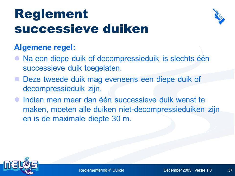 December 2005 - versie 1.0Reglementering 4* Duiker37 Reglement successieve duiken Algemene regel: Na een diepe duik of decompressieduik is slechts één successieve duik toegelaten.