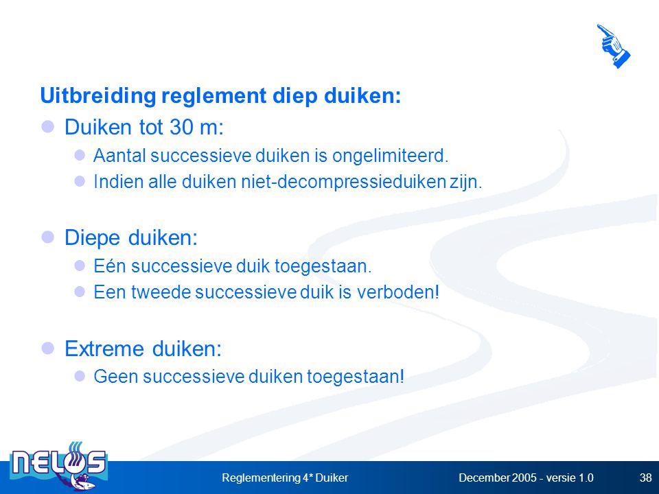 December 2005 - versie 1.0Reglementering 4* Duiker38 Uitbreiding reglement diep duiken: Duiken tot 30 m: Aantal successieve duiken is ongelimiteerd.