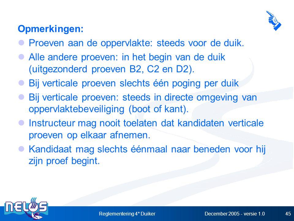 December 2005 - versie 1.0Reglementering 4* Duiker45 Opmerkingen: Proeven aan de oppervlakte: steeds voor de duik. Alle andere proeven: in het begin v