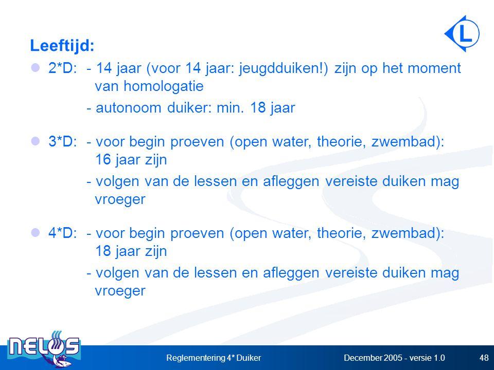 December 2005 - versie 1.0Reglementering 4* Duiker48 Leeftijd: 2*D:- 14 jaar (voor 14 jaar: jeugdduiken!) zijn op het moment van homologatie - autonoom duiker: min.