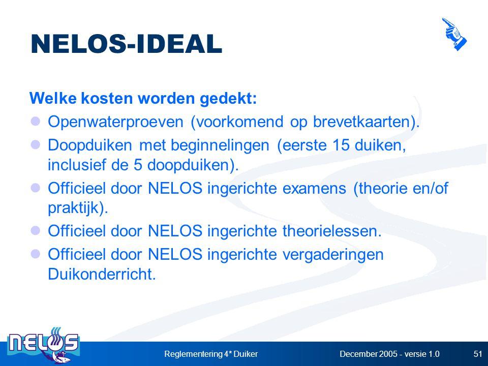 December 2005 - versie 1.0Reglementering 4* Duiker51 NELOS-IDEAL Welke kosten worden gedekt: Openwaterproeven (voorkomend op brevetkaarten). Doopduike