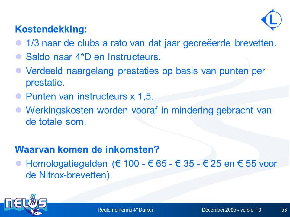 December 2005 - versie 1.0Reglementering 4* Duiker53 Kostendekking: 1/3 naar de clubs a rato van dat jaar gecreëerde brevetten. Saldo naar 4*D en Inst