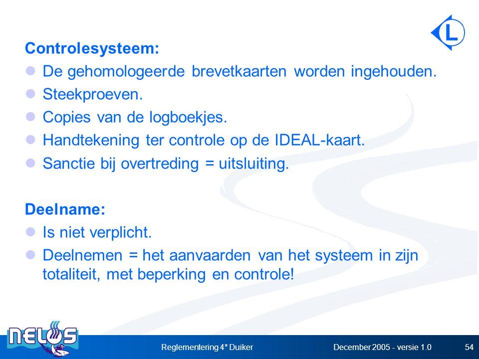 December 2005 - versie 1.0Reglementering 4* Duiker54 Controlesysteem: De gehomologeerde brevetkaarten worden ingehouden. Steekproeven. Copies van de l