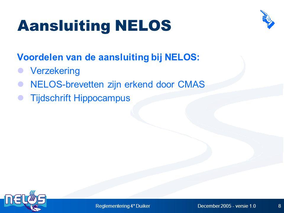 December 2005 - versie 1.0Reglementering 4* Duiker8 Aansluiting NELOS Voordelen van de aansluiting bij NELOS: Verzekering NELOS-brevetten zijn erkend