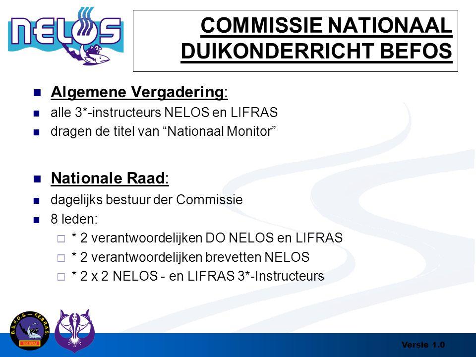 """Versie 1.0 COMMISSIE NATIONAAL DUIKONDERRICHT BEFOS Algemene Vergadering: alle 3*-instructeurs NELOS en LIFRAS dragen de titel van """"Nationaal Monitor"""""""