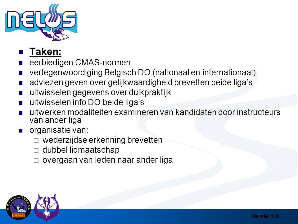 Versie 1.0 Taken: eerbiedigen CMAS-normen vertegenwoordiging Belgisch DO (nationaal en internationaal) adviezen geven over gelijkwaardigheid brevetten