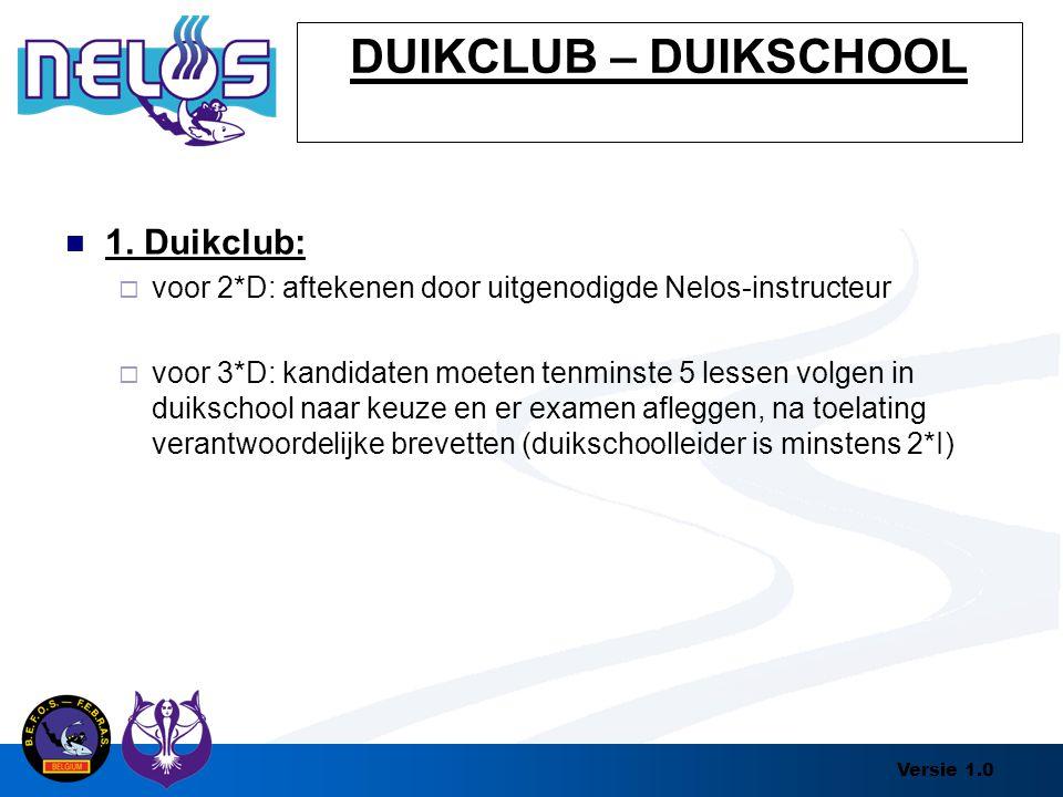 Versie 1.0 DUIKCLUB – DUIKSCHOOL 1. Duikclub:  voor 2*D: aftekenen door uitgenodigde Nelos-instructeur  voor 3*D: kandidaten moeten tenminste 5 less