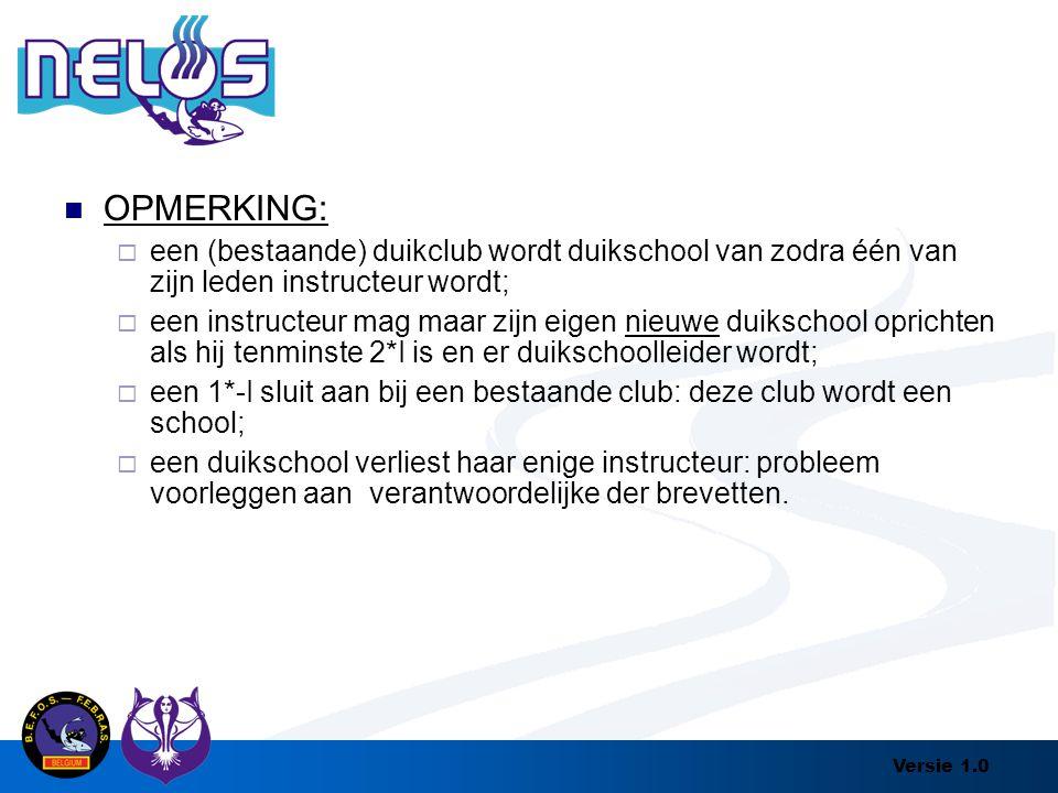 Versie 1.0 OPMERKING:  een (bestaande) duikclub wordt duikschool van zodra één van zijn leden instructeur wordt;  een instructeur mag maar zijn eige