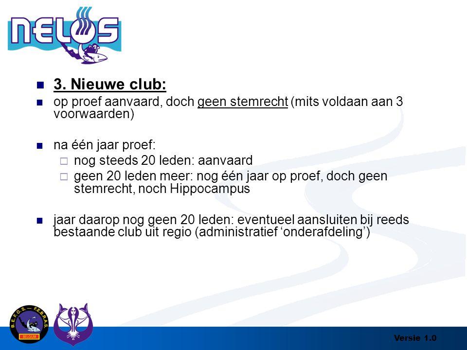 Versie 1.0 3. Nieuwe club: op proef aanvaard, doch geen stemrecht (mits voldaan aan 3 voorwaarden) na één jaar proef:  nog steeds 20 leden: aanvaard