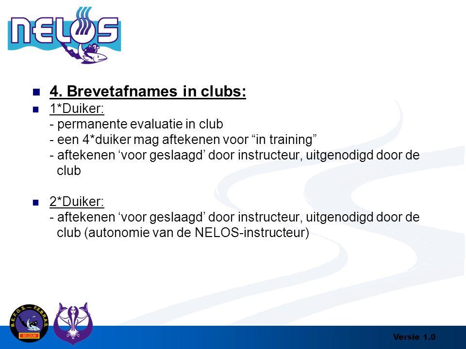 """Versie 1.0 4. Brevetafnames in clubs: 1*Duiker: - permanente evaluatie in club - een 4*duiker mag aftekenen voor """"in training"""" - aftekenen 'voor gesla"""