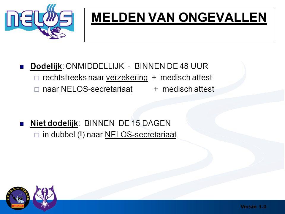 Versie 1.0 MELDEN VAN ONGEVALLEN Dodelijk: ONMIDDELLIJK - BINNEN DE 48 UUR  rechtstreeks naar verzekering + medisch attest  naar NELOS-secretariaat