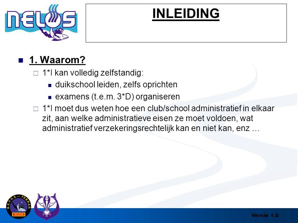 Versie 1.0 INLEIDING 1. Waarom?  1*I kan volledig zelfstandig: duikschool leiden, zelfs oprichten examens (t.e.m. 3*D) organiseren  1*I moet dus wet