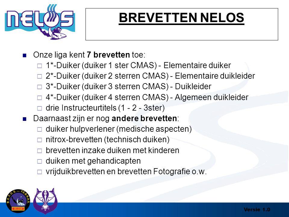 Versie 1.0 BREVETTEN NELOS Onze liga kent 7 brevetten toe:  1*-Duiker (duiker 1 ster CMAS) - Elementaire duiker  2*-Duiker (duiker 2 sterren CMAS) -