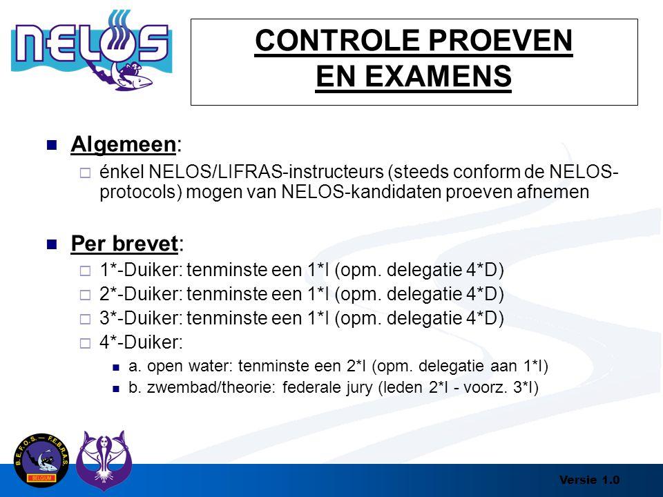 Versie 1.0 CONTROLE PROEVEN EN EXAMENS Algemeen:  énkel NELOS/LIFRAS-instructeurs (steeds conform de NELOS- protocols) mogen van NELOS-kandidaten pro