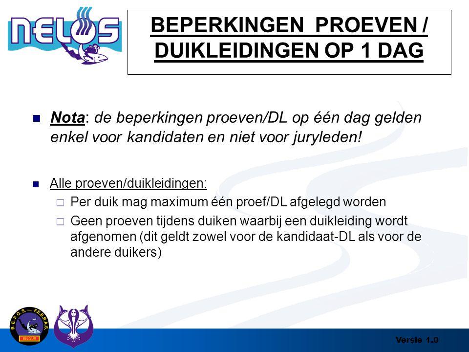 Versie 1.0 BEPERKINGEN PROEVEN / DUIKLEIDINGEN OP 1 DAG Nota: de beperkingen proeven/DL op één dag gelden enkel voor kandidaten en niet voor juryleden