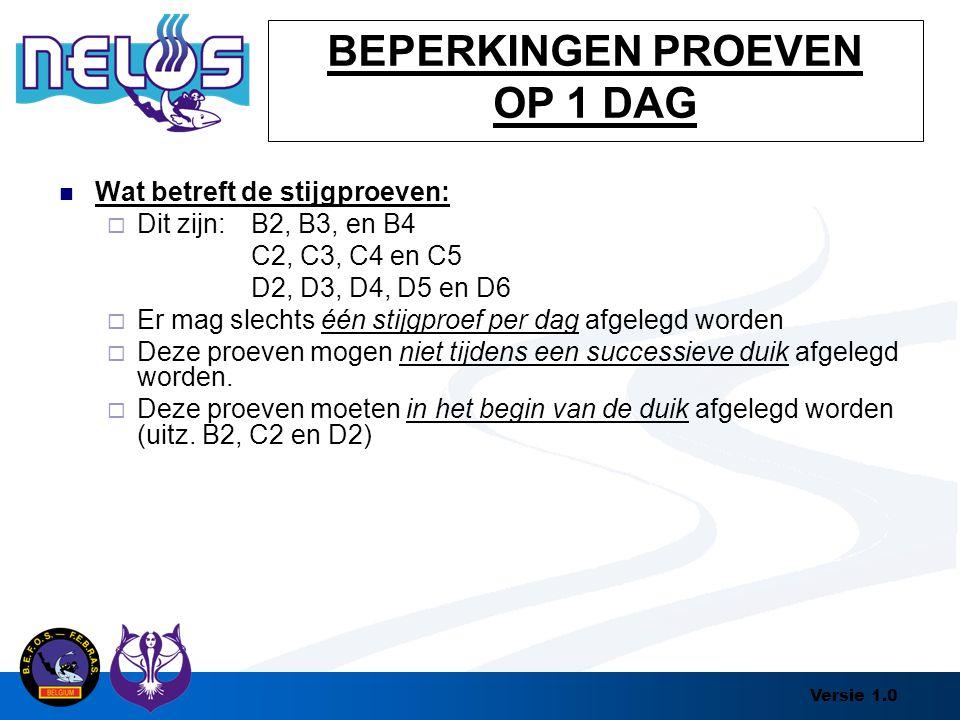 Versie 1.0 BEPERKINGEN PROEVEN OP 1 DAG Wat betreft de stijgproeven:  Dit zijn:B2, B3, en B4 C2, C3, C4 en C5 D2, D3, D4, D5 en D6  Er mag slechts é