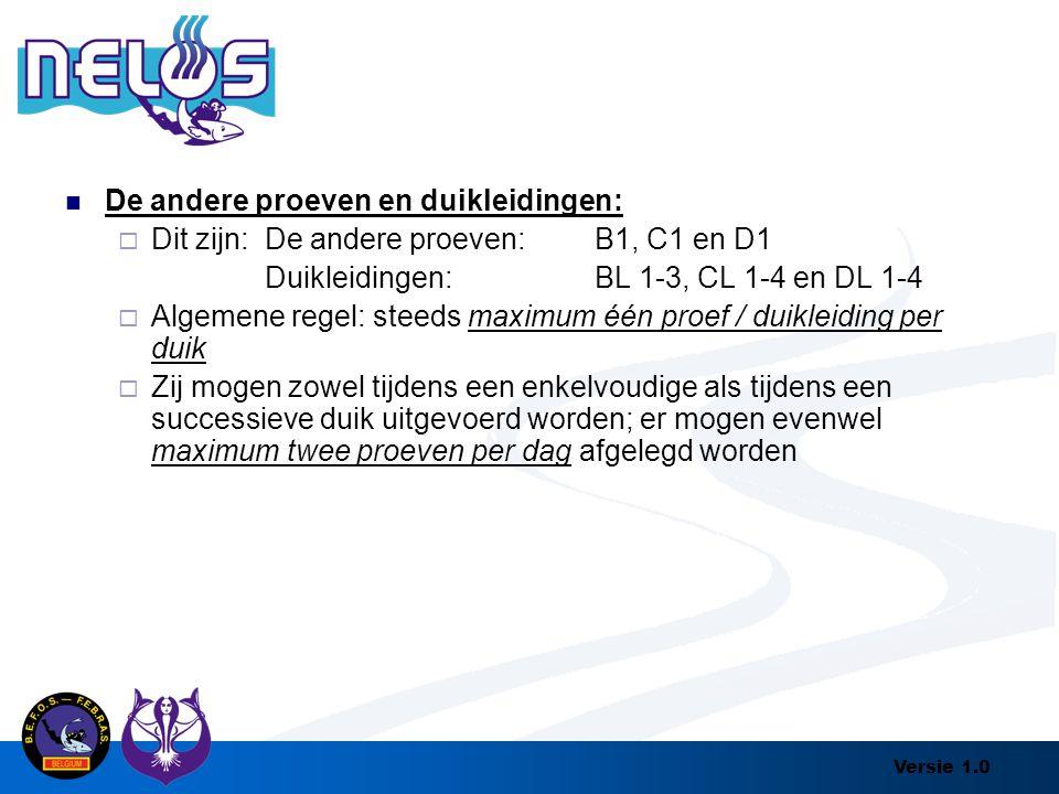 Versie 1.0 De andere proeven en duikleidingen:  Dit zijn: De andere proeven:B1, C1 en D1 Duikleidingen:BL 1-3, CL 1-4 en DL 1-4  Algemene regel: ste