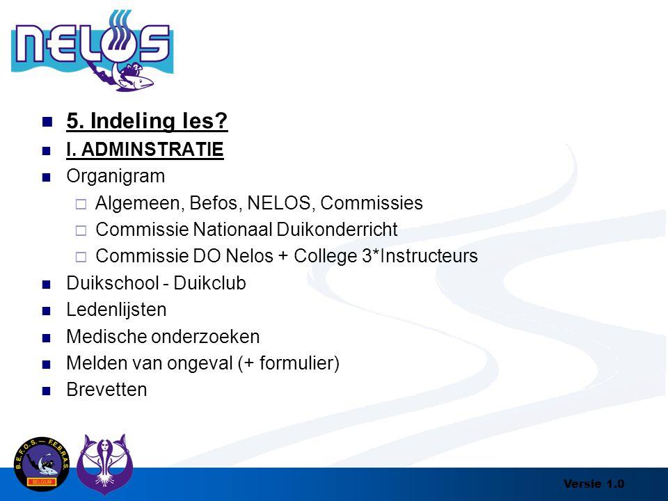 Versie 1.0 5. Indeling les? I. ADMINSTRATIE Organigram  Algemeen, Befos, NELOS, Commissies  Commissie Nationaal Duikonderricht  Commissie DO Nelos