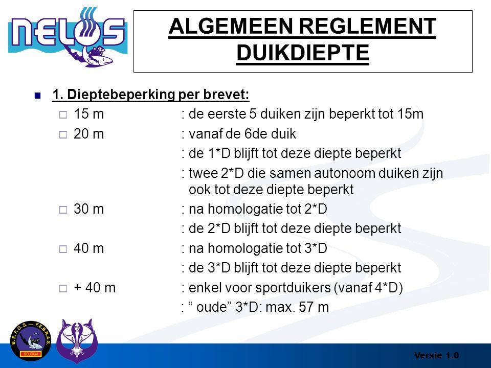 Versie 1.0 ALGEMEEN REGLEMENT DUIKDIEPTE 1. Dieptebeperking per brevet:  15 m: de eerste 5 duiken zijn beperkt tot 15m  20 m: vanaf de 6de duik : de