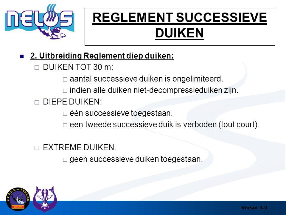 Versie 1.0 REGLEMENT SUCCESSIEVE DUIKEN 2. Uitbreiding Reglement diep duiken:  DUIKEN TOT 30 m:  aantal successieve duiken is ongelimiteerd.  indie