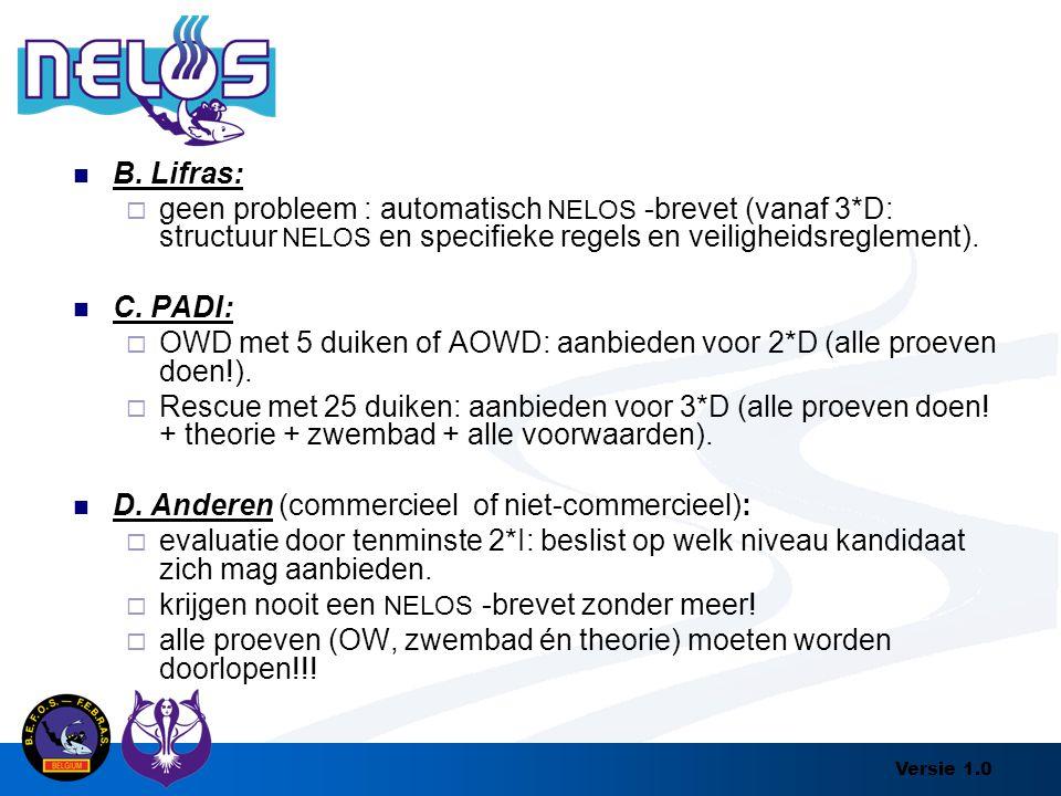 Versie 1.0 B. Lifras:  geen probleem : automatisch NELOS -brevet (vanaf 3*D: structuur NELOS en specifieke regels en veiligheidsreglement). C. PADI: