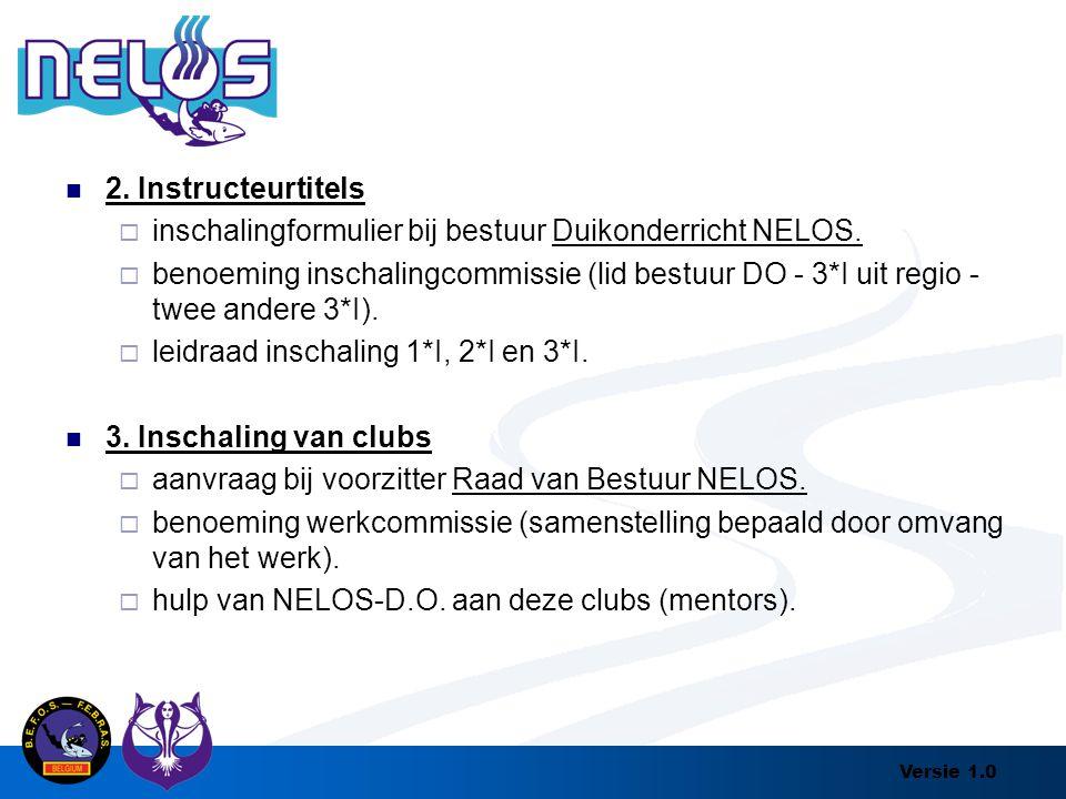 Versie 1.0 2. Instructeurtitels  inschalingformulier bij bestuur Duikonderricht NELOS.  benoeming inschalingcommissie (lid bestuur DO - 3*I uit regi
