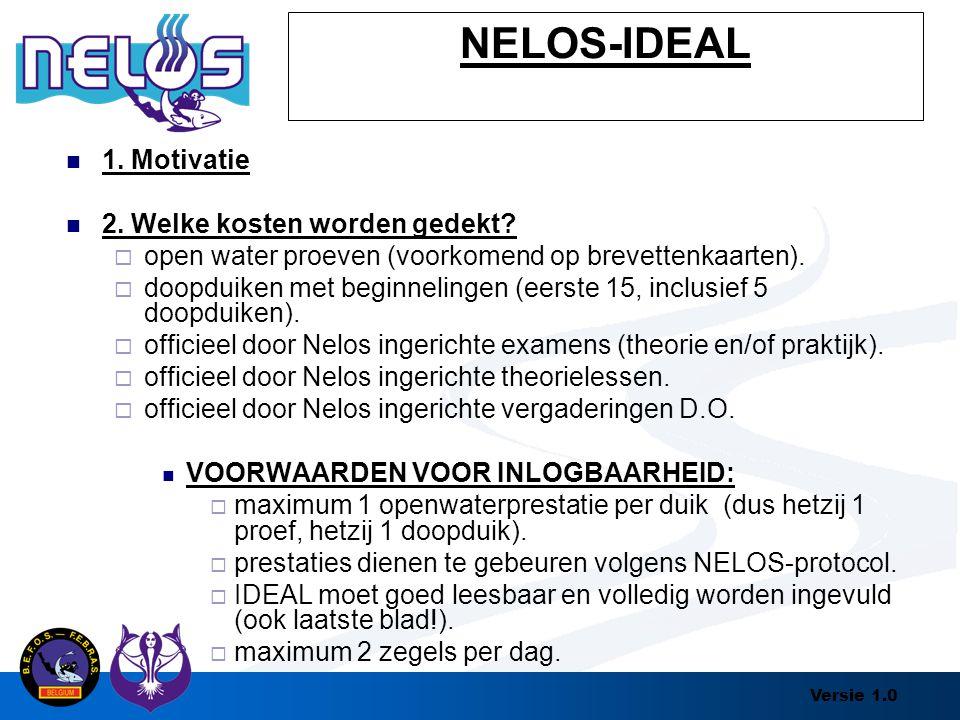 Versie 1.0 NELOS-IDEAL 1. Motivatie 2. Welke kosten worden gedekt?  open water proeven (voorkomend op brevettenkaarten).  doopduiken met beginneling