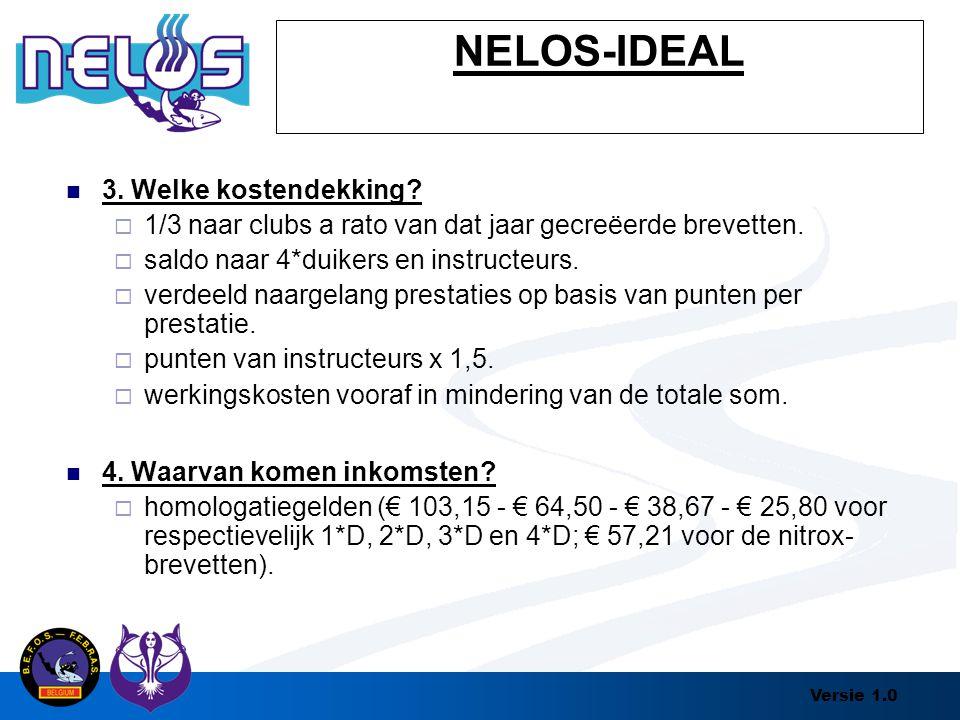 Versie 1.0 NELOS-IDEAL 3. Welke kostendekking?  1/3 naar clubs a rato van dat jaar gecreëerde brevetten.  saldo naar 4*duikers en instructeurs.  ve