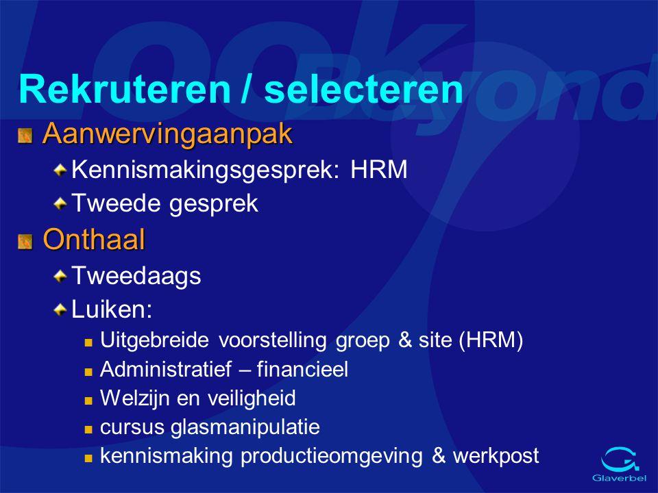 Rekruteren / selecteren Aanwervingaanpak Kennismakingsgesprek: HRM Tweede gesprekOnthaal Tweedaags Luiken: n Uitgebreide voorstelling groep & site (HR