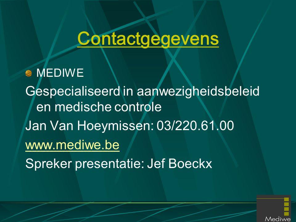 Contactgegevens MEDIWE Gespecialiseerd in aanwezigheidsbeleid en medische controle Jan Van Hoeymissen: 03/220.61.00 www.mediwe.be Spreker presentatie: