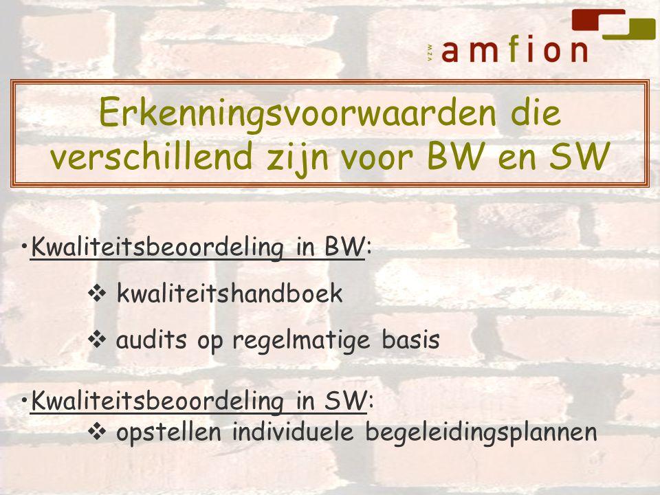 Kwaliteitsbeoordeling in BW:  kwaliteitshandboek  audits op regelmatige basis Kwaliteitsbeoordeling in SW:  opstellen individuele begeleidingsplannen Erkenningsvoorwaarden die verschillend zijn voor BW en SW