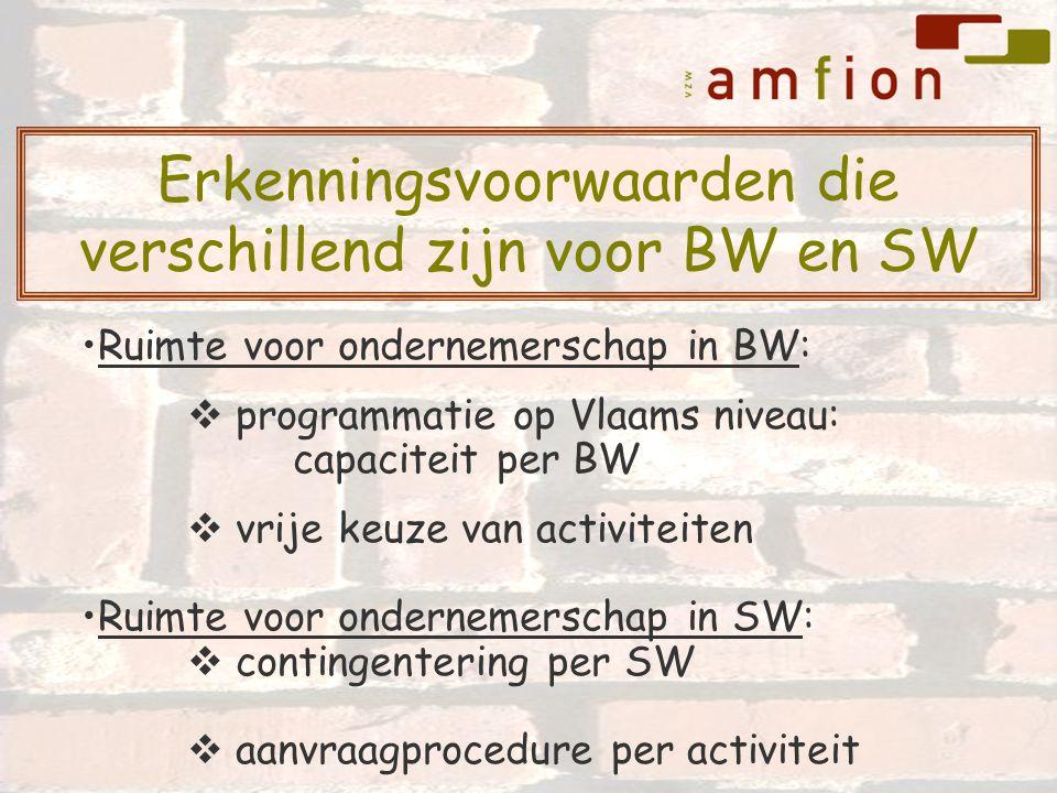 Ruimte voor ondernemerschap in BW:  programmatie op Vlaams niveau: capaciteit per BW  vrije keuze van activiteiten Ruimte voor ondernemerschap in SW:  contingentering per SW  aanvraagprocedure per activiteit Erkenningsvoorwaarden die verschillend zijn voor BW en SW