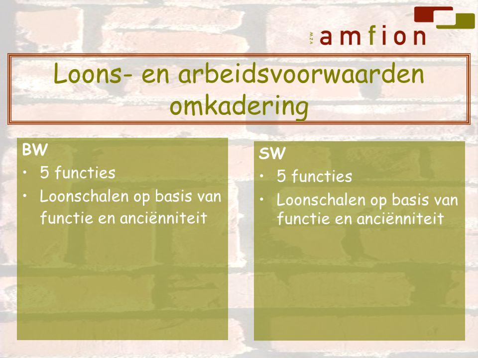 BW 5 functies Loonschalen op basis van functie en anciënniteit SW 5 functies Loonschalen op basis van functie en anciënniteit Loons- en arbeidsvoorwaarden omkadering