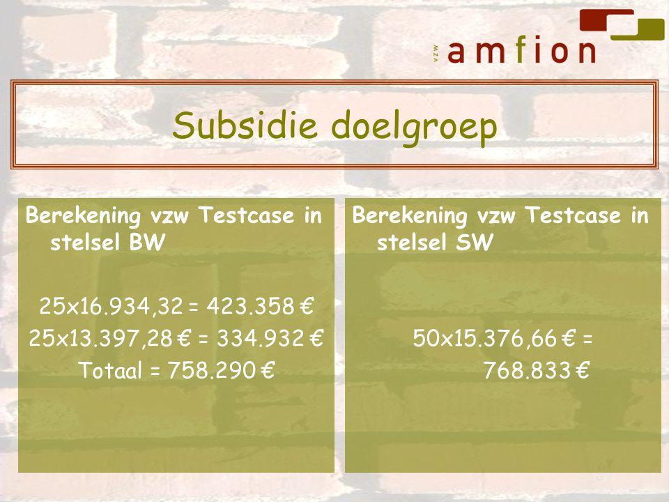 Berekening vzw Testcase in stelsel BW 25x16.934,32 = 423.358 € 25x13.397,28 € = 334.932 € Totaal = 758.290 € Berekening vzw Testcase in stelsel SW 50x15.376,66 € = 768.833 € Subsidie doelgroep