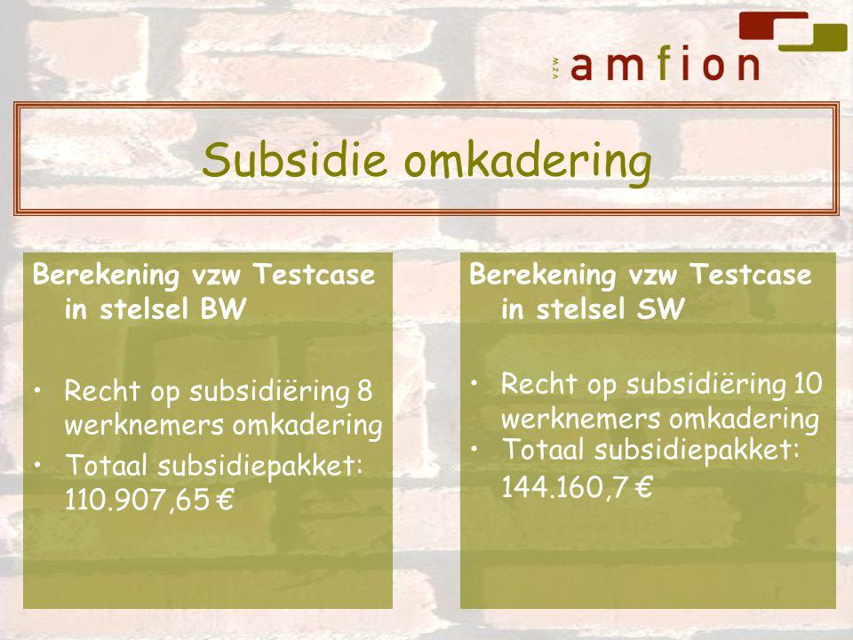 Berekening vzw Testcase in stelsel BW Recht op subsidiëring 8 werknemers omkadering Totaal subsidiepakket: 110.907,65 € Berekening vzw Testcase in stelsel SW Recht op subsidiëring 10 werknemers omkadering Totaal subsidiepakket: 144.160,7 € Subsidie omkadering